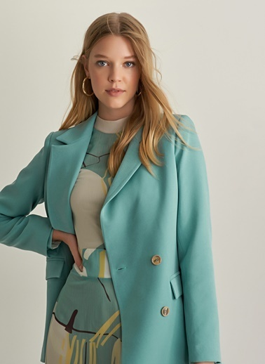 f4d6eabe8dea1 NGSTYLE Kruvaze Kapama Blazer Ceket Yeşil NGSTYLE Kruvaze Kapama Blazer  Ceket Yeşil